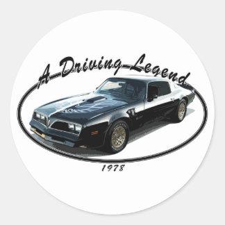 1978_firebird_black01 classic round sticker