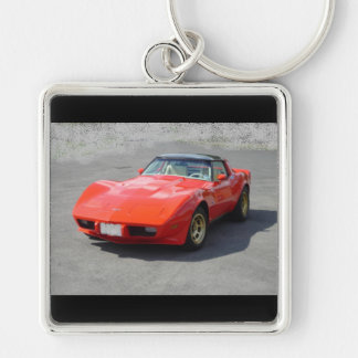 1979 Classic Cars Silver-Colored Square Keychain