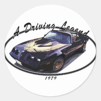 1979_firebird_black01 classic round sticker