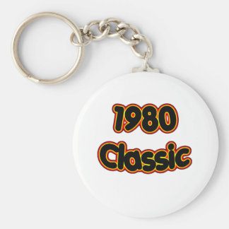 1980 Classic Basic Round Button Keychain