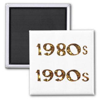 1980s and 1990s Nostalgia Gold Glitter Magnet