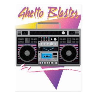 1980s ghetto blaster boombox postcard