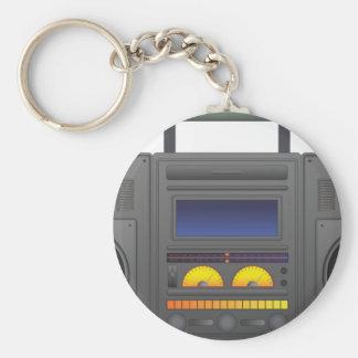 1980's Hip Hop Style Boombox Basic Round Button Keychain