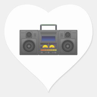1980's Hip Hop Style Boombox Heart Sticker