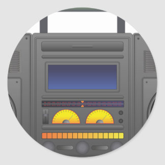 1980's Hip Hop Style Boombox Round Sticker