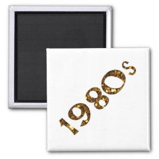 1980s Nostalgia Gold Glitter Magnet
