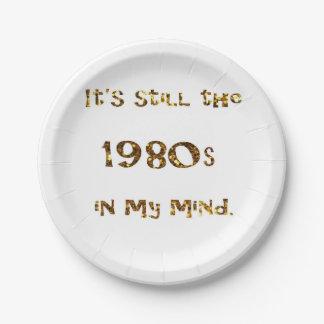 1980s Nostalgia Gold Glitter Paper Plate