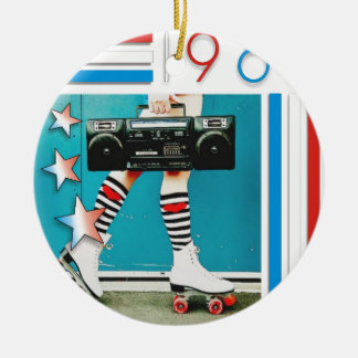 1980's Retro Boom Box and Roller Skates Design Ceramic Ornament