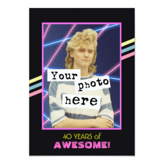 1980's Retro Style Photo Party Announcement