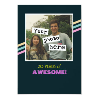 1980's Retro Style Photo Template Party Invitation