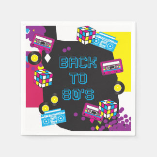 1980s Totally Awesome Party Napkins / Serviette Disposable Napkins