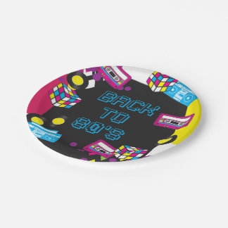 1980s Totally Awesome Party Paper Plates 7 Inch Paper Plate