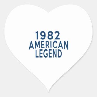 1982 American Legend Birthday Designs Heart Sticker
