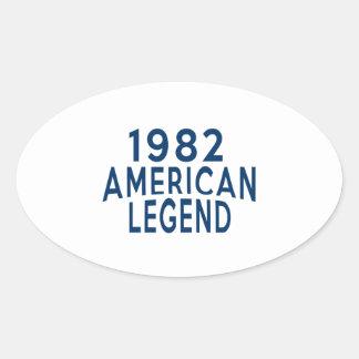 1982 American Legend Birthday Designs Oval Sticker