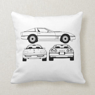 1984  Chevrolet Corvette schematic cussion Throw Pillow