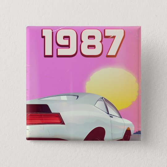 1987 sportscar poster 2 inch square button