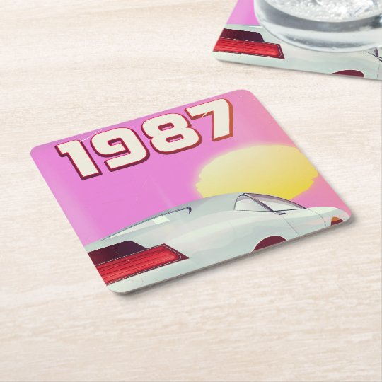 1987 sportscar poster square paper coaster