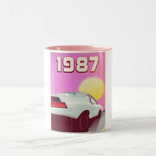 1987 sportscar poster Two-Tone coffee mug