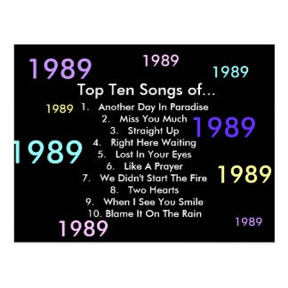 1989 Songs Postcard