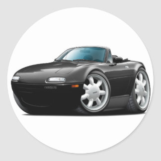 1990-98 Miata Black Car Classic Round Sticker