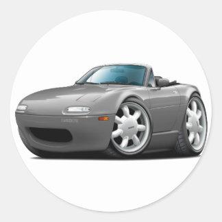 1990-98 Miata Grey Car Round Sticker
