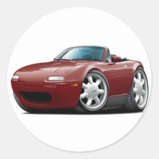 1990-98 Miata Maroon Car Round Sticker