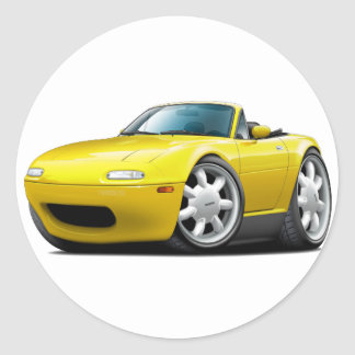 1990-98 Miata Yellow Car Round Sticker