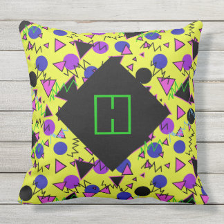 1990 bold geometric monogram throw pillow