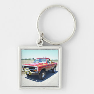 1990 Dodge Ram 150 Rod Hall Signature Edition #18 Silver-Colored Square Keychain