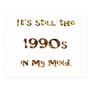 1990s Nostalgia Gold Glitter Postcard