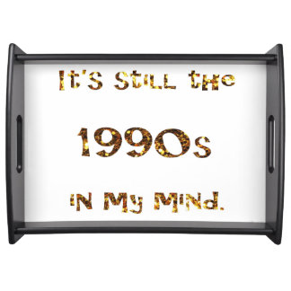 1990s Nostalgia Gold Glitter Serving Tray