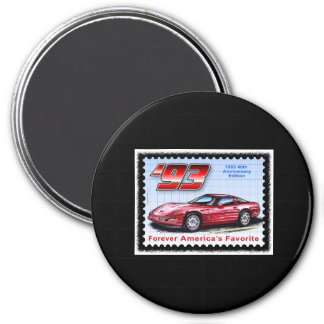 1993 40th Anniversary Corvette 3 Inch Round Magnet