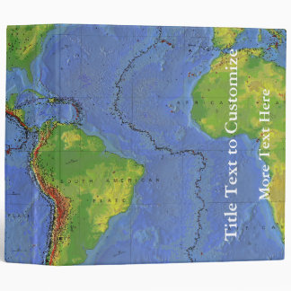 1994 Physical World Map - Tectonic Plates - USGS 3 Ring Binders