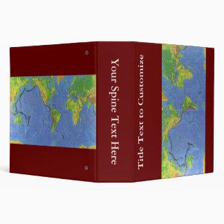 1994 Physical World Map - Tectonic Plates - USGS Vinyl Binders