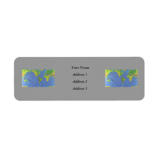 1994 Physical World Map - Tectonic Plates - USGS Return Address Label