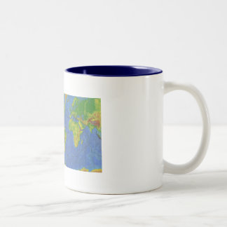 1994 Physical World Map - Tectonic Plates - USGS Two-Tone Coffee Mug