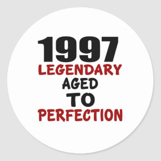 1997 LEGENDARY AGED TO PERFECTION ROUND STICKER