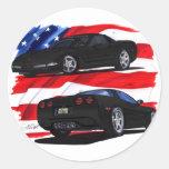 1998-04 Corvette Black Car Round Sticker
