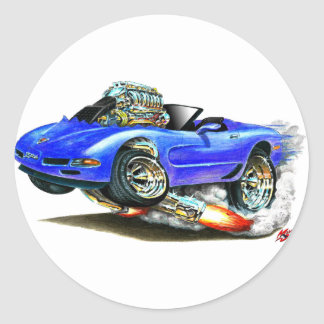 1998-2004 Corvette Blue Convertible Classic Round Sticker