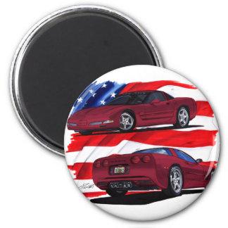1999-04 Corvette Maroon Car 2 Inch Round Magnet