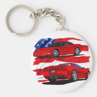 1999-04 Corvette Red Car Basic Round Button Keychain