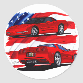 1999-04 Corvette Red Car Classic Round Sticker