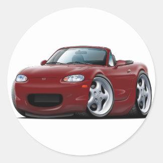 1999-05 Miata Maroon Car Round Sticker