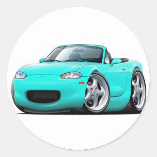 1999-05 Miata Turquoise Car Round Sticker