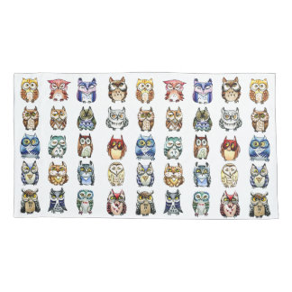 19 and 1 Owls and Cat rainbow colors Pillowcase