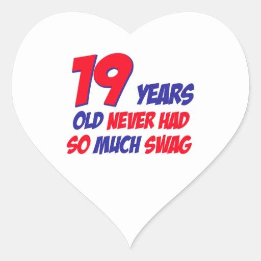 19 birthday design heart stickers
