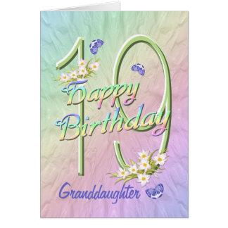 19ème carte de jardin de papillon d'anniversaire d