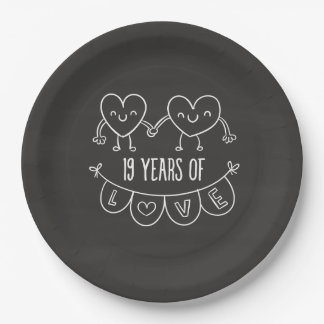 19th Anniversary Gift Chalk Hearts Paper Plate