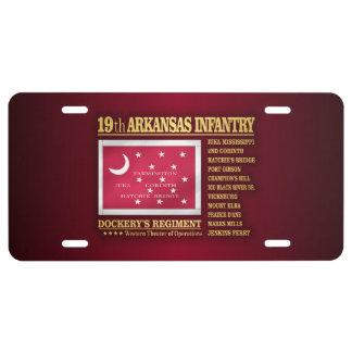 19th Arkansas Infantry (BA2) License Plate