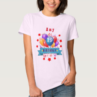 19th Birthday Festive Balloons and Red Stars 106Z Shirts